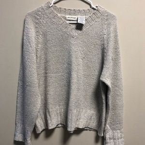 Small White Stag Knit Sweater light grey